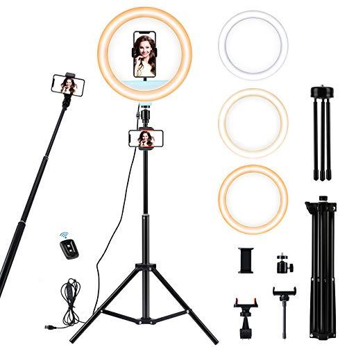 12 LED Ring Light avec Trépied, Anneau Lumineux Réglable avec Télécommande Bluetooth, 3 Modes dEclairage, 10 Niveaux de Luminosité, Lumière Telephone pour TikTok Youtube Live Stream Video Selfie