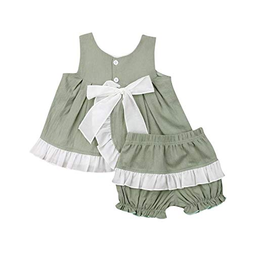 Buy Discount Infant Baby Girls Summer Clothes Bowknot Dress + Ruffle Shorts Casual Clothes Set 2Pcs ...