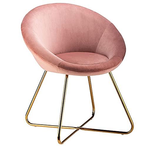 Flamingo Casa - Juego de 2 sillas de comedor acolchadas circulares de terciopelo rosa - Silla moderna para dormitorio con patas de hierro dorado - Silla de salón para salón, café o vanidad