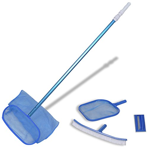 Festnight Kit Entretien Piscine avec Brosse Accessoires Piscines avec Manche Téléscopique Bleu