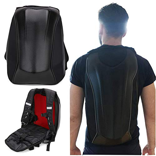 AnXin Motorcycle Backpack Waterproof Bag Hard Shell Backpack Carbon Fiber Motorbike Helmet Large Bag For Men Travelling Camping Cycling Storage