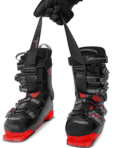 Athletrek Ski Boot & Snowboard Boot Carrier Straps   Adjustable Easy Carry Strap for Adult & Youth  Use Over Shoulder to Free up Hands   Perfect Ski Snow Winter Gear Accessory (Ski Boot Strap)