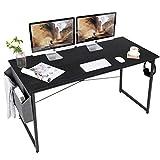 AuAg Schreibtisch 140 x 60 cm, Computertisch mit Aufbewahrungstasche, PC-Tisch Bürotisch Officetisch für Home Office Schule, Stabil Laptop-Tisch Arbeitstisch (Schwarz)