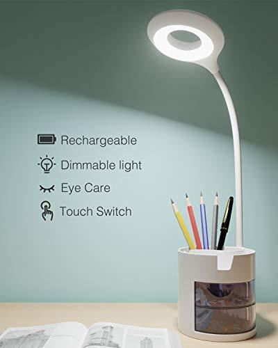 Lámpara Escritorio LED, Hepside Flexo LED escritorio 3Niveles de Brillo Panel Táctil Luz Flexo de Escritorio, Flexo de Escritorio de Cuidado Ocular Recargable USB Luz Lectura Lámpara para Estudiar