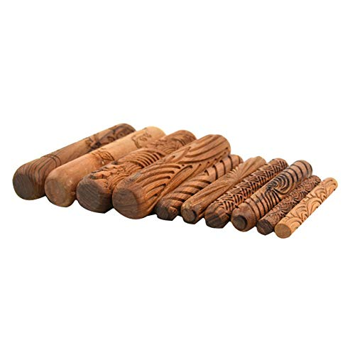 Ibnotuiy Set of 10 Wooden Handle Pottery Tools Clay Modeling Pattern Rollers Kit