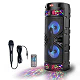 RHM Portable Bluetooth PA Speaker System with Rechargeable Battery Powered, 500W Wireless Karaoke Machine Outdoor Sound System with Disco Light, Microphone, Remote Control