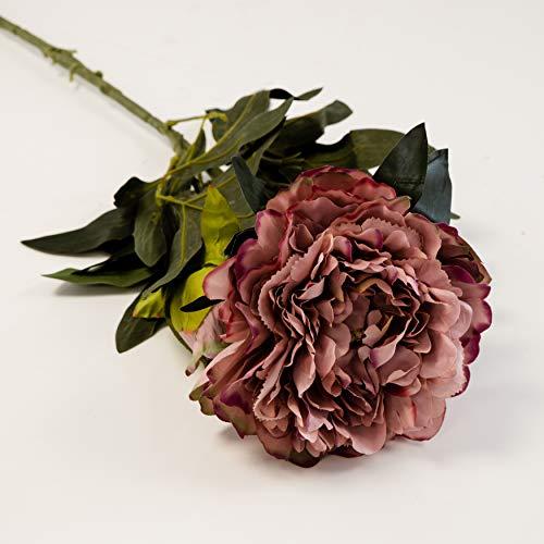 Pivoine artificielle en soie pongée 2 têtes 90 cm tige 4 couleurs décoration mariage (vieux rose)