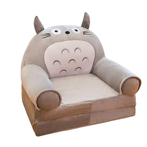 Children Sofa Plush Foldable Children's Sofa Backrest Chair Cute Cartoon Animal Sweet Seats Bean Bag Armchair for Playroom Bedroom (Cage cat,31.49''x17.71''x19.68'')