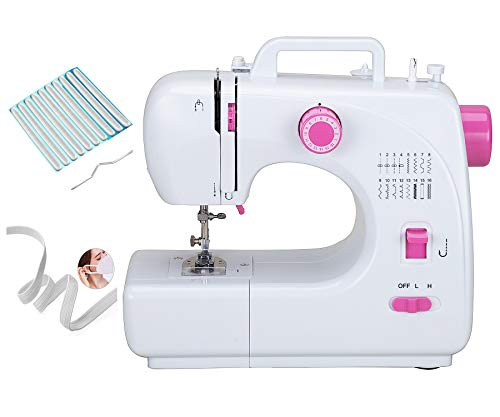 Portable Sewing Machine for Adult Beginners Electric Household Mini Sewing Machine Tool, 16 Built-in Stitches, Revers Sewing, 2 Speeds Double Thread, Free Arm Metal Inner Frame Beginner Sewing Machine