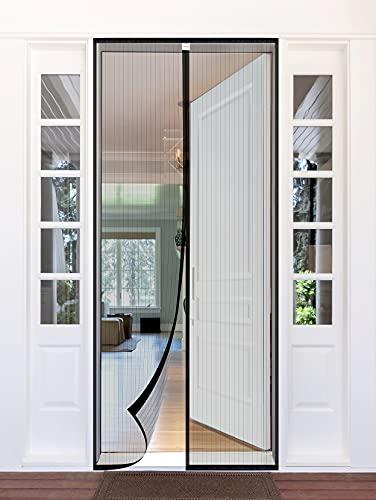 Homitt Magnet Fliegengitter Tür 90×210cm, Insektenschutz Balkontür Fliegenvorhang, Magnetvorhang für Balkontür, Kellertür und Terrassentür, Ohne Bohren, Schwarz