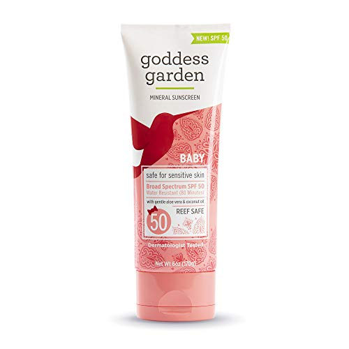 Goddess Garden - Baby SPF 50 Mineral Sunscreen Lotion - Sensitive Skin, Reef Safe, Sheer Zinc, Broad Spectrum, Water Resistant, Non-Nano, Vegan, Leaping Bunny Certified, Cruelty-Free - 6 oz Tube