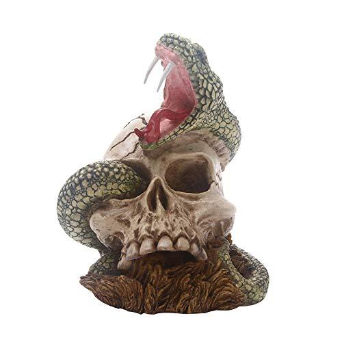 ZAQWSXCDE Escultura De La Suerte Figura Escultura Decorativa Decoración Creativa para El Hogar De Halloween Serpiente Cráneo Figura Modelo Estatua Escultura Ornamento Horror Resina Artesanía Regalo