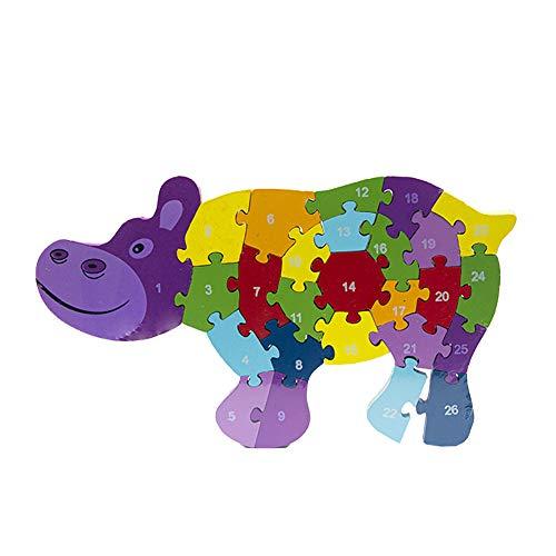 Byoeko Puzzle Figuras de Madera con numeros y abecedario (Hi