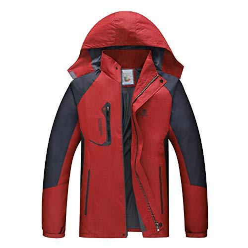KINDOYO Veste D'extérieur pour Hommes - Coupe Vent Respirant Montagne Randonnée Marche Imperméable Manteau, Rouge, EU XL=Tag 2XL