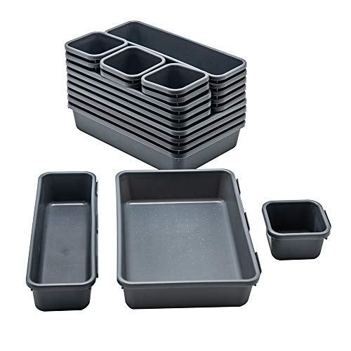 BYCY 18 Pcs Drawer Organizers Trays Set for Office Bathroom Dresser Interlocking Dividers Storage Bins Pack (18 Pieces Set)