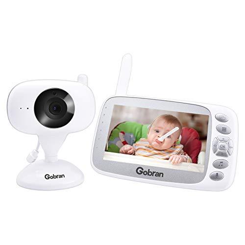 Vigilabebés Pantalla LCD de 4.3 '' Expandible 2 cámaras,Bebé Monitor Videovigilancia Recargable, Visión Nocturna, Activación por voz VOX, Audio Bidireccional, Sensor de Temperatura, Canciones de Cuna