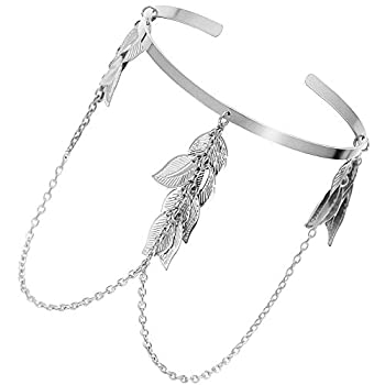 Silver Roman Greek Leaf Feather Chain Tassels Bracelet Armband Upper Arm Cuff Armlet