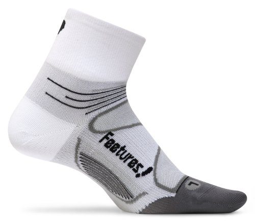 Feetures Elite Ultra Light Cushion Quarter Socks Small WhiteBlack