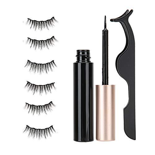Set de Maquillaje Para Ojos Pestañas Reutilizables Extensión de Maquillaje Pestañas Postizas Paquete de Pestañas de Aspecto Natural Con 3 Pares de Pestañas Postizas, Pinzas, Delineador Líquido