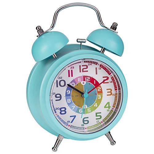 ONVAYA® Kinderwecker | Lernuhr für Kinder | Wecker ohne Ticken | Lernwecker mit Licht & Musik | Quarzwecker | Glockenwecker | Kinderuhr Spielzeug für Jungen & Mädchen (Retro Türkis)