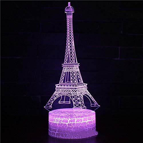 GEZHF Ilusión óptica 3D Luz de Noche París torre edificio Juego 3D LED Lámpara de 16 colores con interruptor táctil Luz de mesa Ilusión acrílica Iluminación de la habitación Ventiladores de regalo