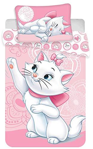 Kinderbettwäsche Disney III 2-teilig 100% Baumwolle 40x60 + 100x135 cm mit Reißverschluss (Marie Cat)