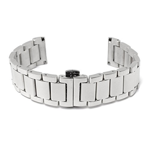 BABAN 18mm Stainless Steel Wrist Watch Band Strap Double Clasp Bracelet Silver