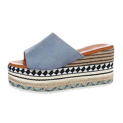Ital-Design Damenschuhe Sandalen & Sandaletten Pantoletten Synthetik Hellblau Gr. 39