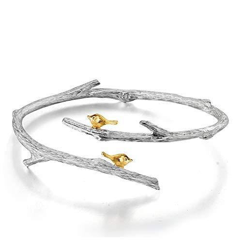 Springlight S925 Sterling Silber Armreif Lebhaft Vogel auf Zweig Armreif Kreativ Handgemachter Einzigartiger Schmuck für Frauen und Mädchen (Silver)
