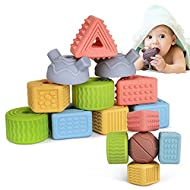 TUMAMA 18 Pcs Soft Building Shapes Block String Lacing Beads for Toddlers, Throwing Game Montessori Sort and Stacking Baby Toys Gift Sets for Kids, Boys, Girls