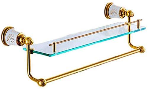 Badplank, badkamerplank, metalen zeep, handdoekhouder, hangrek, zeepkist, keukenkruidenglas, glazen scheidingswand geschenk, kleur: goud, maat: 54 x 14 cm 54*14cm goud