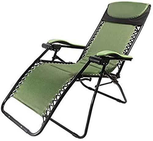 Chaise Transats Recliners Patio Longue de Jardin Fauteuil inclinable extérieur Pliant Portable berçante Supports 200kg (Couleur: Vert), Couleur: Vert (Color : Green)