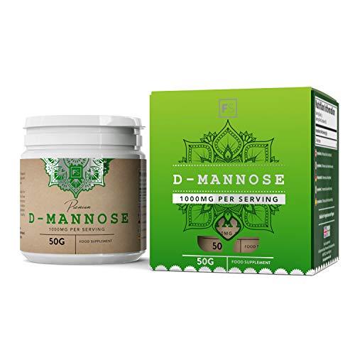 FS D Mannose Pulver 100% Reines   D-Mannose Pulver 50g   Cranberry Kraft   Unterstützt Prostata   Vegane   Milch, Allergen und Gluten Frei   Hergestellt in ISO-Zertifizierten Betrieben
