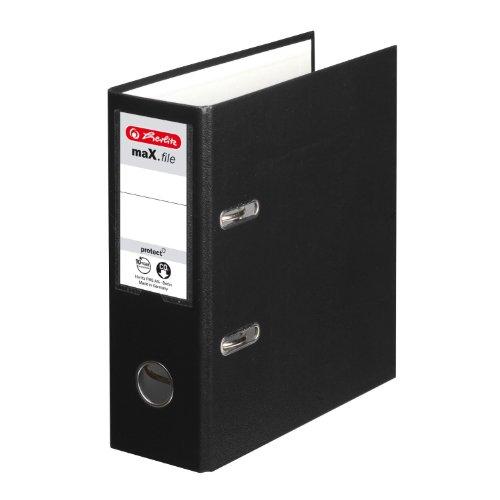Herlitz 10842300 Ordner maX.file protect, A5 hoch, Farbe schwarz, FSC Mixed