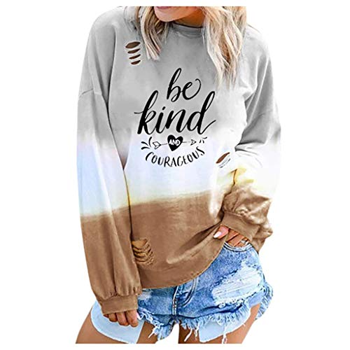 Lowest Price! Women Pullover Sweatshirt Crewneck Gradient Long Sleeve Blouse Top Casual Loose Fall R...