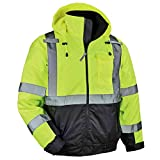 High Visibility Reflective Winter Bomber Jacket, Black Bottom, ANSI Compliant, Ergodyne GloWear 8377, Lime, Large