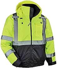 High Visibility Reflective Winter Bomber Jacket, Black Bottom, ANSI Compliant, Ergodyne GloWear 8377, Lime, Large