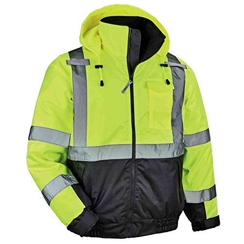 High Visibility Reflective Winter Bomber Jacket, Black Bottom, ANSI Compliant, Ergodyne GloWear 8377,2XL,Lime