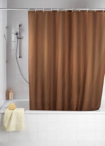 WENKO 20036100 Anti-Schimmel Duschvorhang Uni Chocolate - Anti-Bakteriell, waschbar, mit 12 Duschvorhangringen, 100 prozent Polyester, Braun