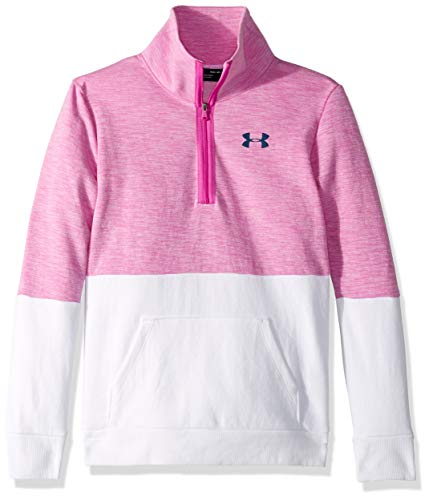 Under Armour Girls Double Knit 1/2 Zip, Fluo Fuchsia Light H (565)/Techno Teal, Youth Medium