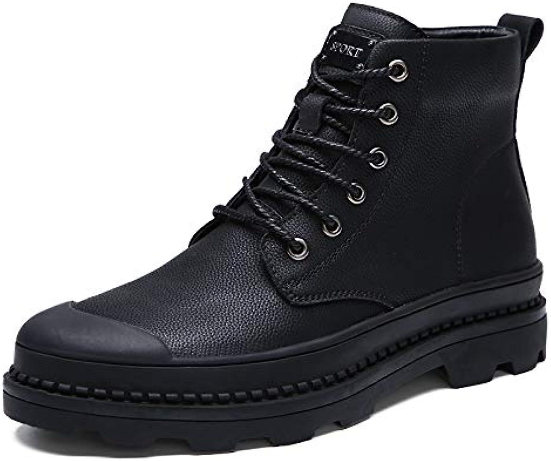 LOVDRAM Stiefel Mnner Winter Schwarz Stiefel Herren Martin Stiefel Pu Baumwolle Warm Herren Stiefel Hohe Hilfe Werkzeug Schuhe Baumwolle Schuhe