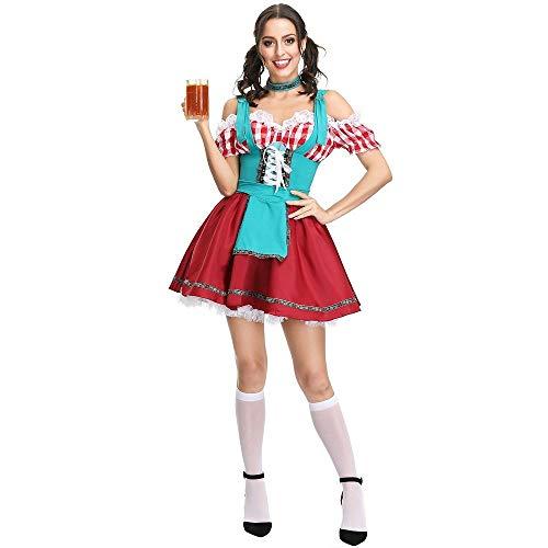 Shujin Vestido de traje regional para mujer, minivestido para Oktoberfest, delantal de encaje, diseño exclusivo, para fiestas de cerveza, ropa tradicional bávara, disfraz, fiesta, carnaval rojo M