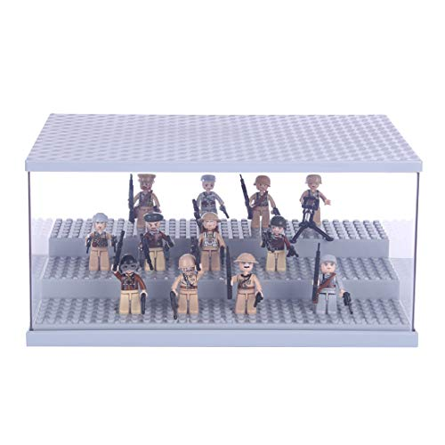 OATop Figuren Baustein Acryl Display Box, Staubdichte Display Case mit LED Beleuchtungsset für Lego Minifiguren (Vitrine Schaukasten Nur im Lieferumfang Enthalten, kein Lego Kit)