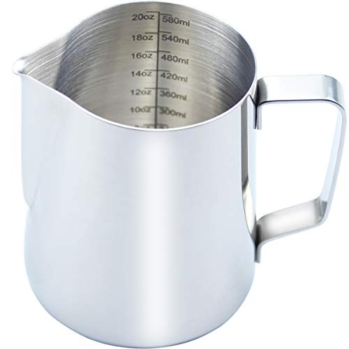 CAMKYDE Milk Frothing Pitcher 20 oz Stainless Steel Espresso Steaming Pitcher for Coffee Espresso Machines Cappuccino Latte Art