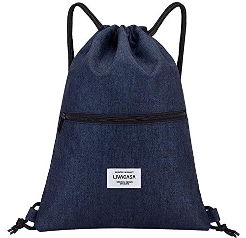 LIVACASA Mochila de Cuerdas Mujer Hombre Bolsas de Cuerdas Bolso Mujer Casual A Prueba de Agua Impermeable Bolsillo Exterior Extra Ajustable Correas de Hombros Azul