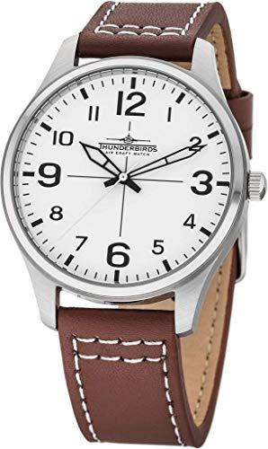 Armbanduhr Echt Leder Uhr 42 mm 3ATM Miyota 2035 schwarz weiß Fliegeruhr Flieger (Braun)