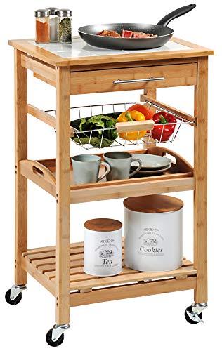 Kesper Küchenwagen, 25776 13, aus Bambus, Maße: B 49 x H 81 x T 38 cm