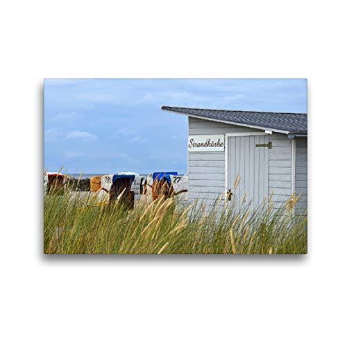 Premium Textil-Leinwand 45 x 30 cm Quer-Format Strandkorbvermietung | Wandbild, HD-Bild auf Keilrahmen, Fertigbild auf hochwertigem Vlies, Leinwanddruck von Sarnade