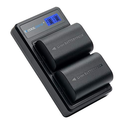 COOLSHOW LP-E6 Batteria di ricambio 2pezzi(2600mAh)con Caricabatterie Doppio LED per Canon EOS 5D Mark II/III/IV,EOS 5DS,EOS 6D,6D Mark II, EOS 7D,EOS 7D MarkII,EOS60D,60Da,EOS70D,80D,EOS R,XC10,XC15