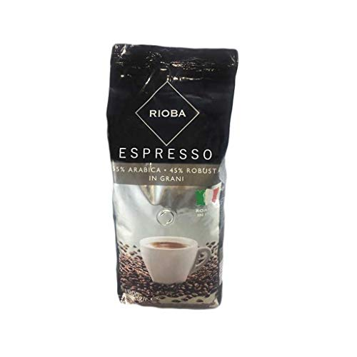 Rioba Silver Grani Espresso, gerösteter Kaffee, ganze Bohnen, 55% Arabica & 45% Robusta, 1000g